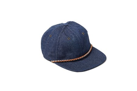 Nordet 6 Panels Reflective Braided Leather Denim Hat - Indigo