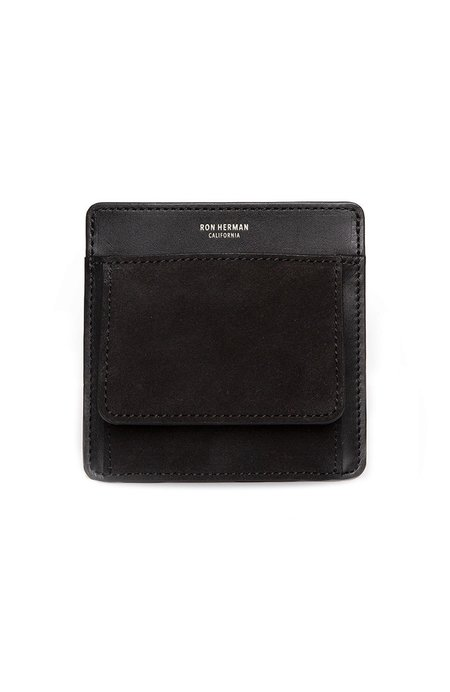 RON HERMAN Exclusive Small Suede Card Case - BLACK