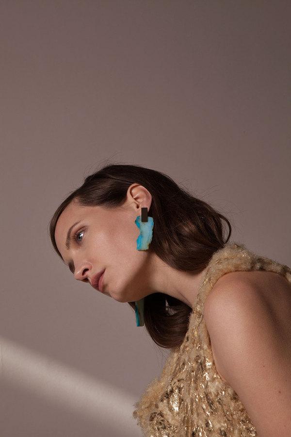 Peruvian Opal Slice Earrings