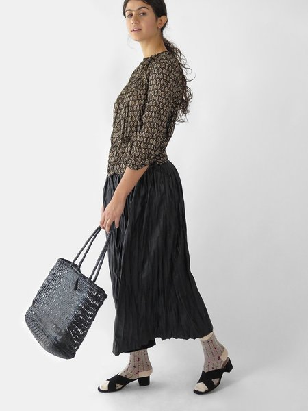 hazel brown double pleated skirt - black