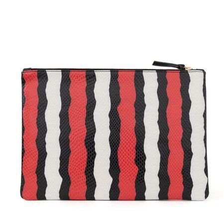 Clare V. Flat Clutch - Poppy Striped Snake