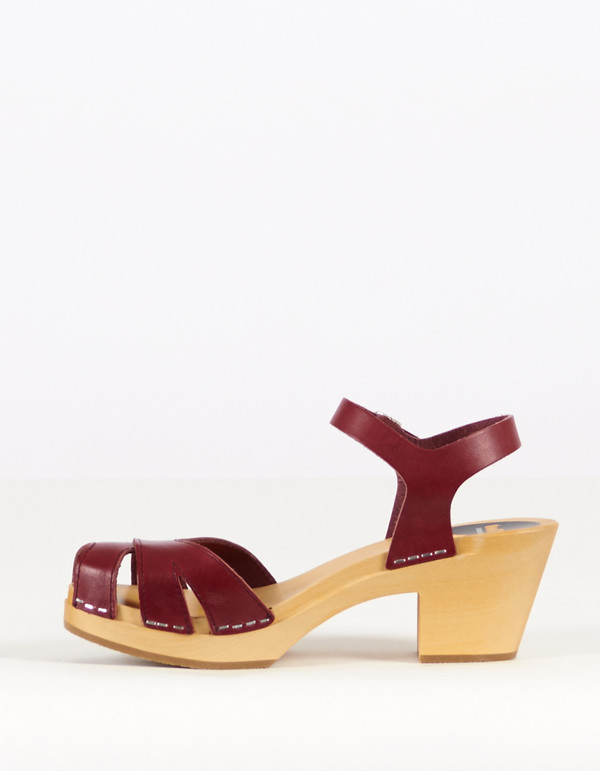 Swedish Hasbeens Ingela Clog Wine Red