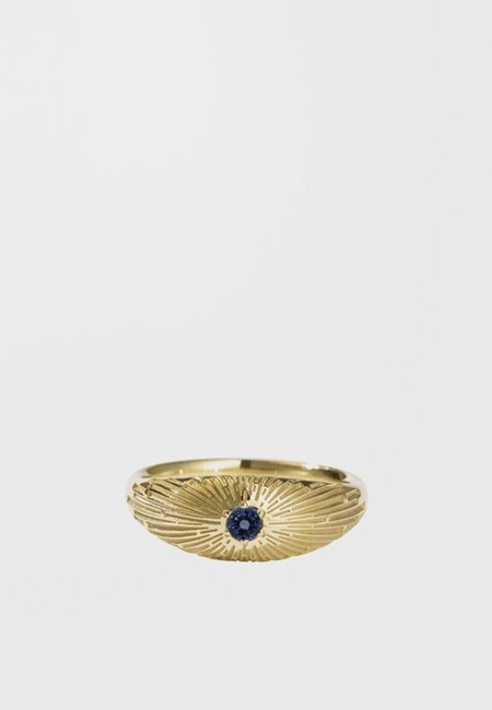 hidden Inez Ring - gold/dark blue sapphire