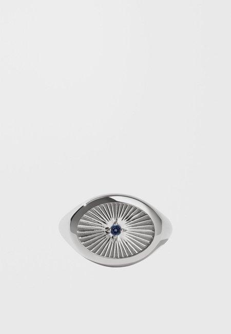 Meadowlark Inez Signet Ring - Silver/dark blue sapphire
