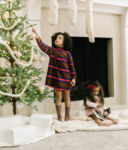 kids Mini Rodini Velour Stripe Long Sleeve Dress - brown