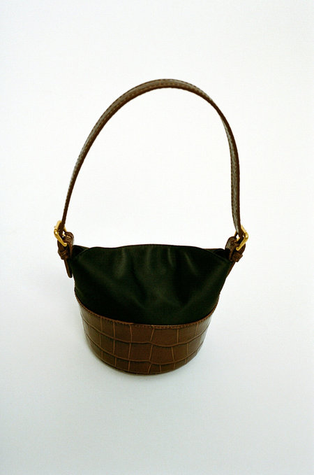 BY FAR Jamie Leather Satin Mini Bag - Brown/Black