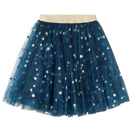 kids marmar copenhagen solo sun ballerina dotty skirt - blue/gold polka