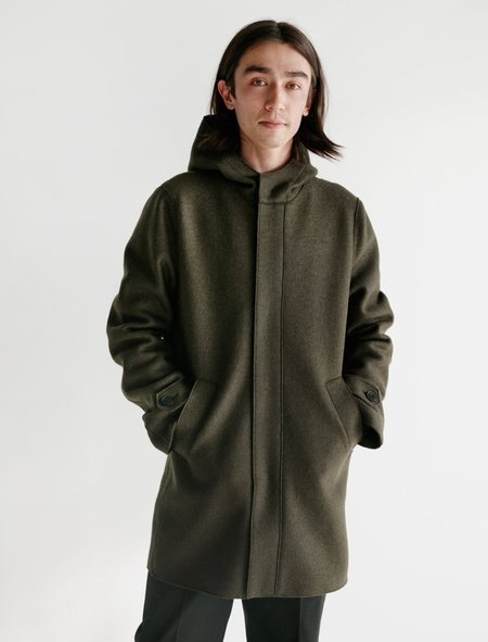 Harris Wharf London Long Parka Insulated Polaire Pressed Wool - Army