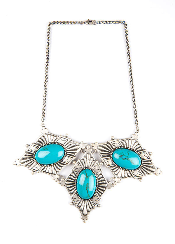 Dudine - Frida Diamond Collar Necklace in Turquoise