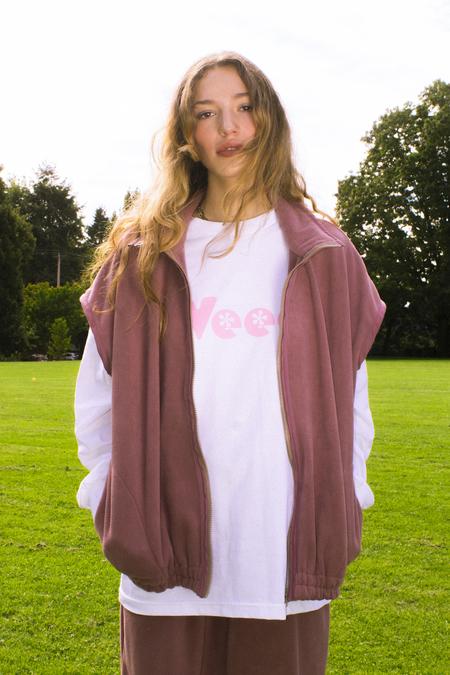 unisex folk fortune Oversized Eco fleece Vest - Mauve Rose