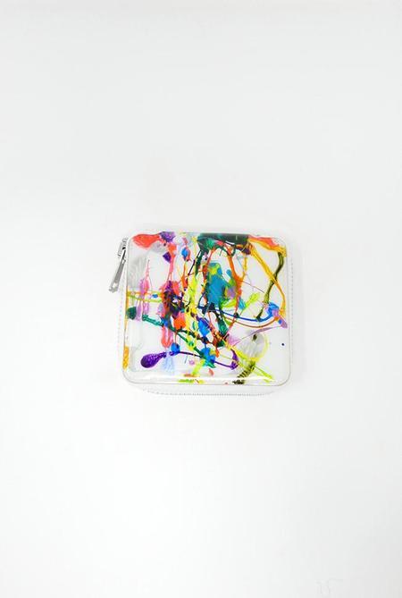 Macromauro Square Paint Wallet - White Multi