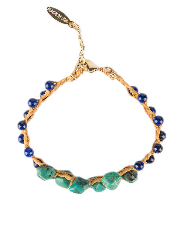 Ettika - Linen Bracelet with Lapis Lazuli and Turquoise
