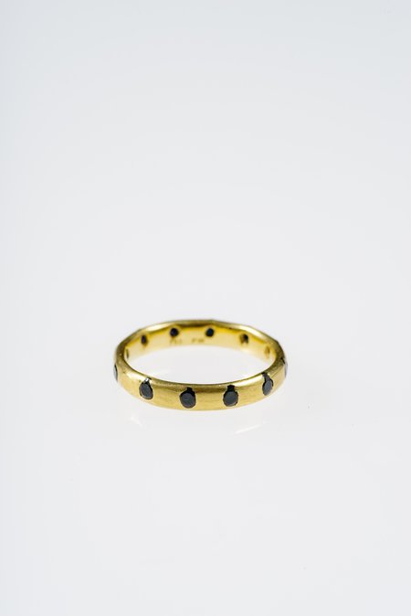 Polly Wales SLIM CRYSTAL BAND WITH ROUND BLACK SAPPHIRES