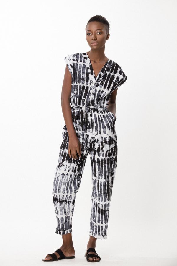 Osei-Duro Accra Romper in Black Chalk
