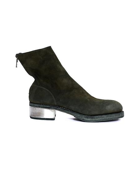 Guidi Suede Metallic Heel Boots - Green