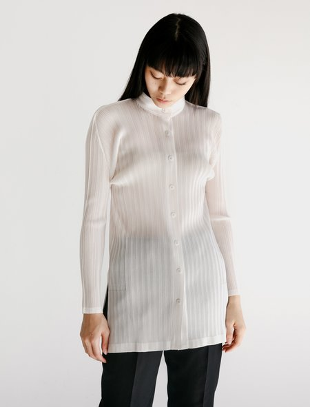 Pleats Please Mao Collar Shirt - White