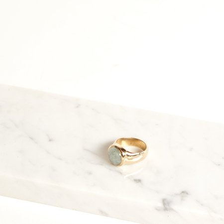 Amber Seagraves Seaworthy Rise Ring - brass/aquamarine