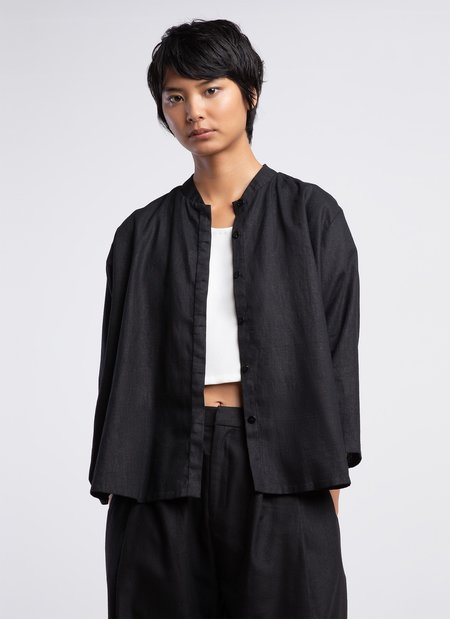 Unisex KAAREM Wholegrain Button-Up Shirt - Black Linen