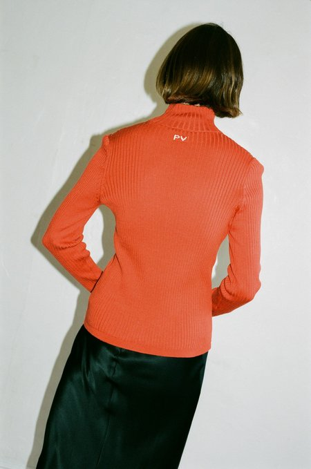 Priscavera Turtle Neck Slim Sweater in Rust