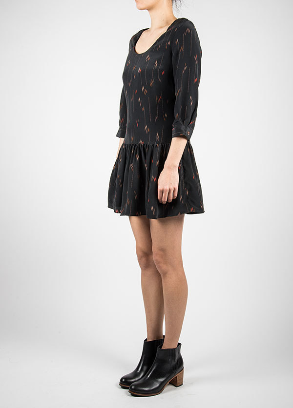 Harlyn - Drop Waist Cut Out Dress in Black Print