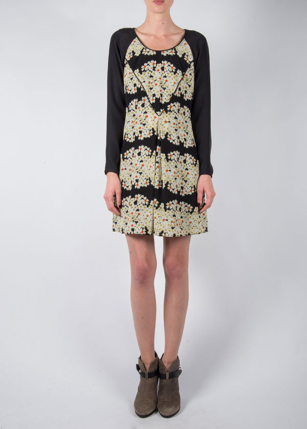 Harlyn - Skater Dress in Black Daisy
