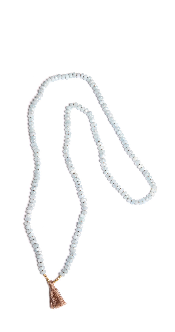 James and Jezebelle Aqua Marine Knotted Necklace