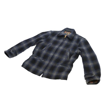 Sugar Cane Fiction & Romance Wool Check Sports Jacket - Navy Plaid