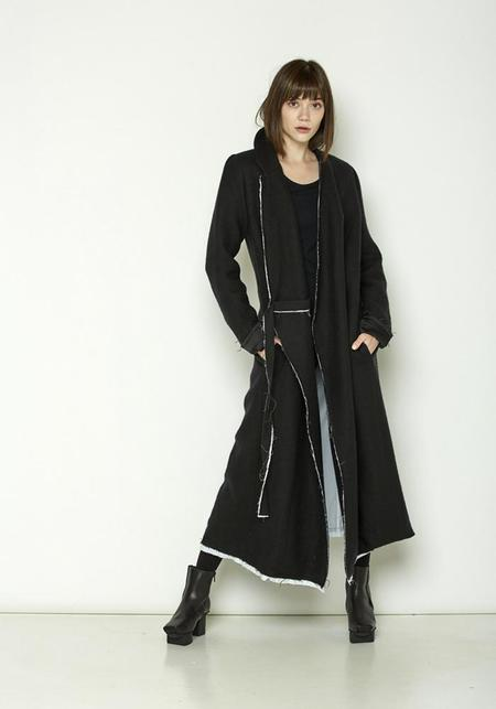 Serie Numerica Linen and Wool Trench Coat - black