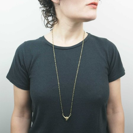 By Natalie Frigo Small Cow Skull Necklace - Recycled brass