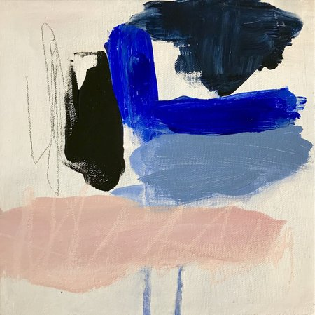 Genevieve Allen Blue Smoke Acrylic And Pastel On Canvas