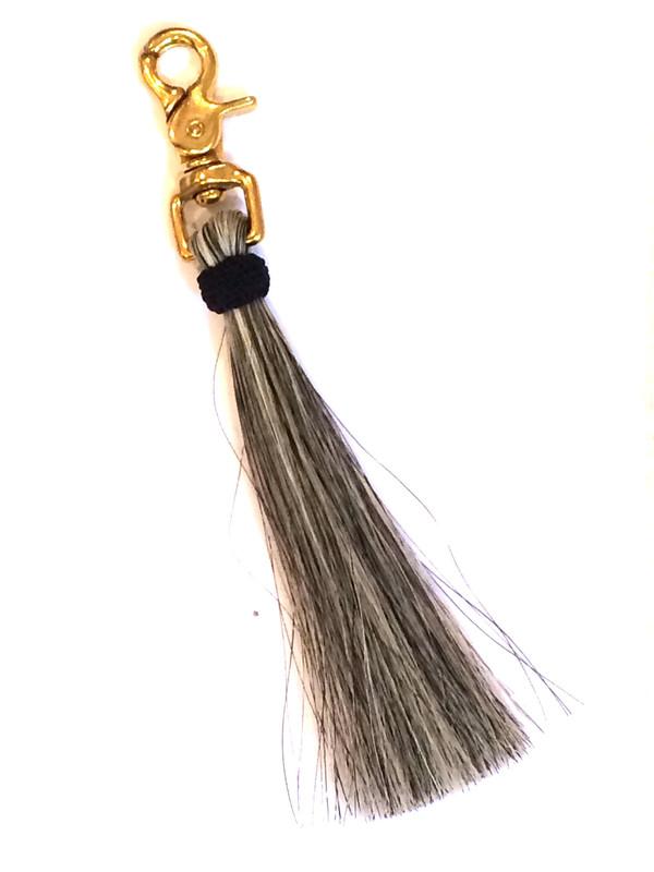 OLIVEVE grey horse hair tassel on brass clip