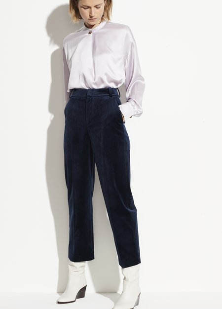 Vince Velvet Crop Trouser - Baltic blue