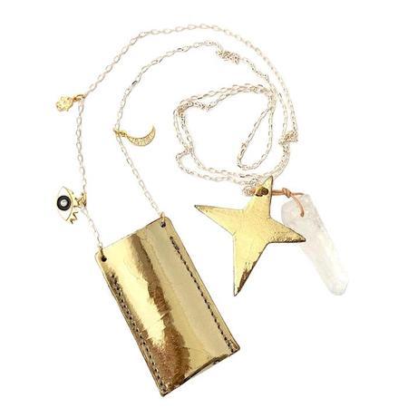 Atsuyo Et Akiko Amulet Foil Gold Crystal Necklace - Brass