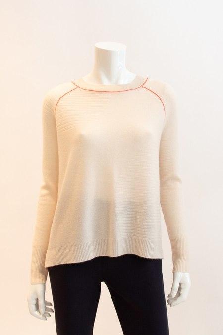 Paychi Guh Cashmere Sweater With Orange Stitch - Creme