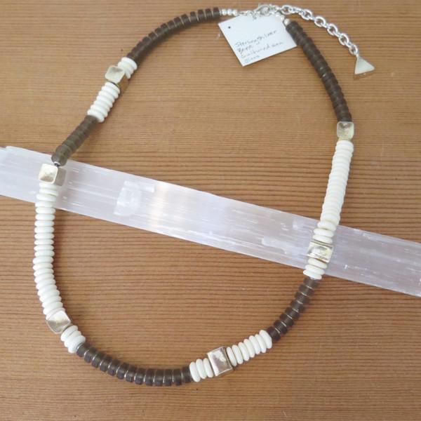RHINO Bone and sea glass necklace
