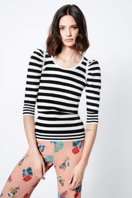 Smythe Puff Sleeve Sweater - Black/White Stripe