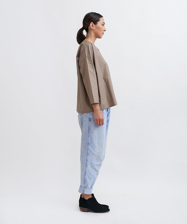 Revisited Matters Cotton Workshirt in Stone