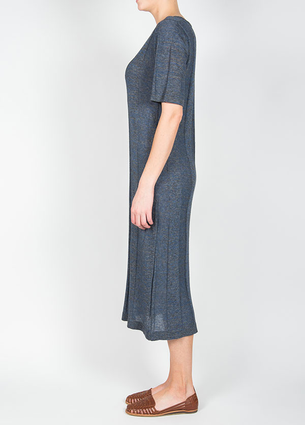 Micaela Greg - Ladder Tee Dress in Charcoal / Navy