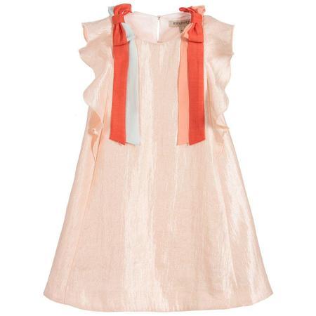 kids hucklebones ribbon flutter dress - Pink