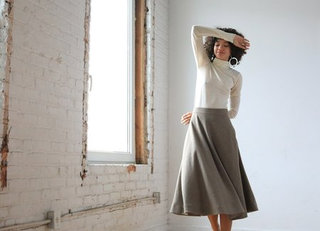 ARIELLE Dakota Recycled Wool Skirt - RECYCLED UMBER