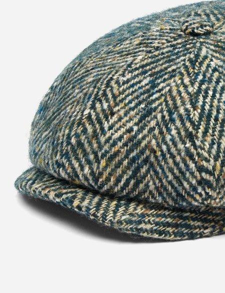 Stetson Hatteras Colour Neps Flat Wool Herringbone Cap - Green