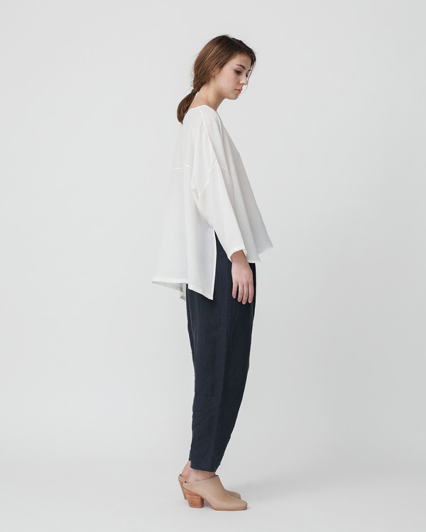 Revisited Matters Kaftan Silk Shirt in Off-White