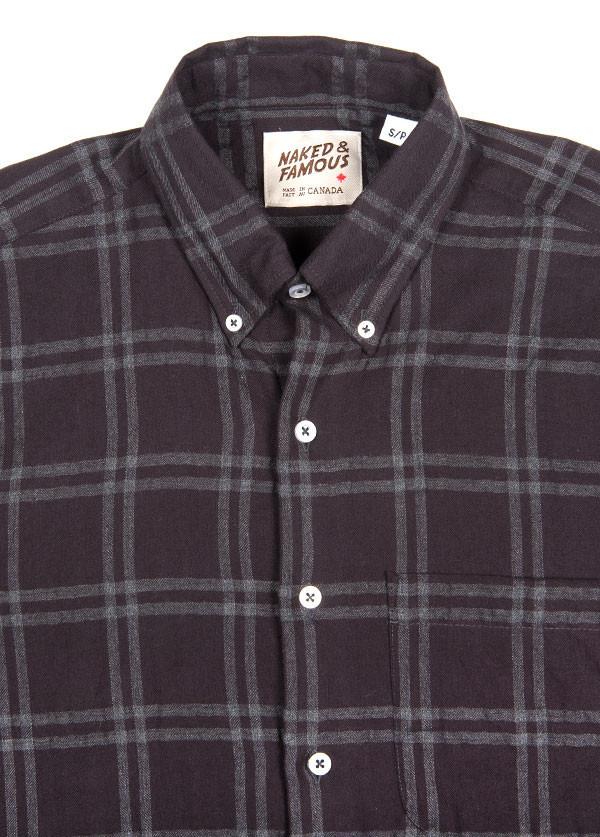 Naked & Famous Denim - Regular Shirt in Check Herringbone Grey / Charcoal
