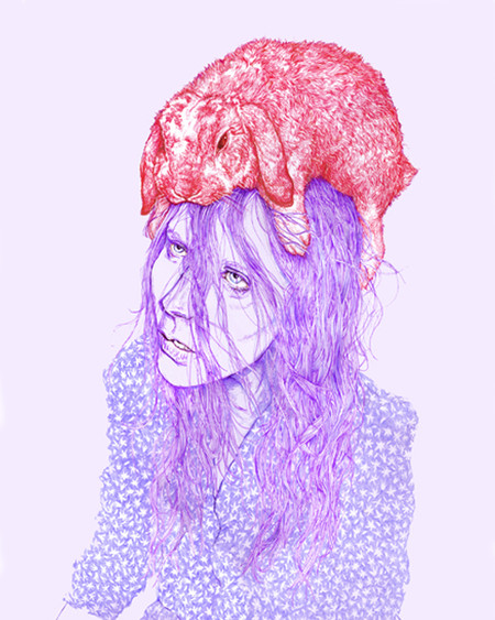 Philip Smiley Rabbit Girl Print