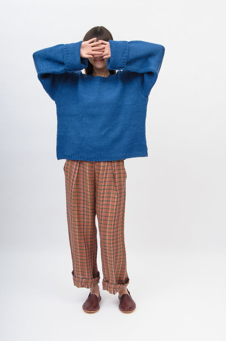 Runaway Bicycle Hand Knit Sweater - Blue