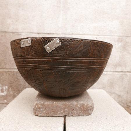 Vintage Antique Wooden Fulani Milk Bowl - brown