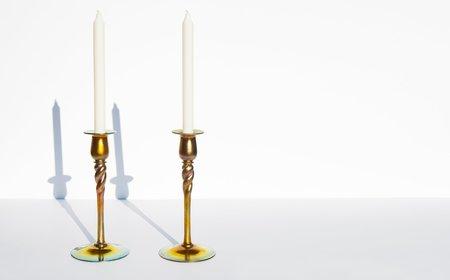 Kindred Black Gold Aurene Candlesticks by Steuben