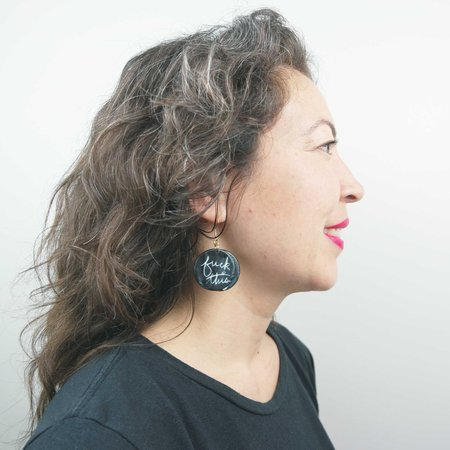 Ceramics and Theory Fuck This Fuck That Earrings - Black/White