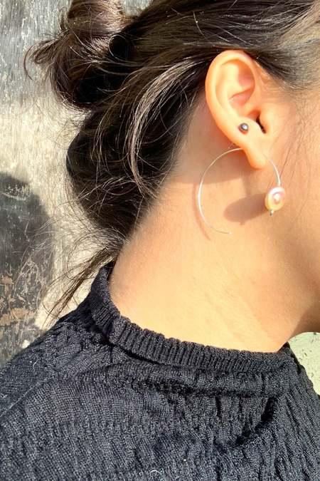 Jujumade Pearl Mini Loop Earring - Silver