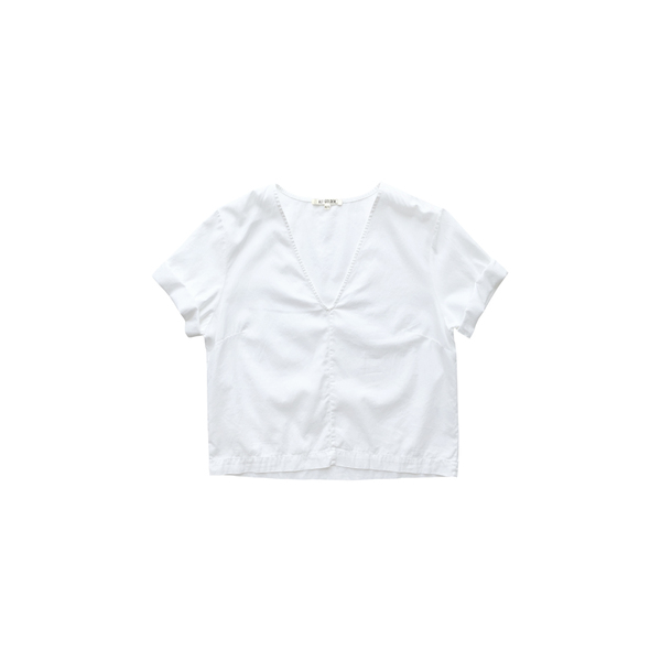 ALI GOLDEN V-NECK TOP - WHITE